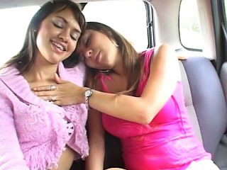 Two lesbian teenies licking and having some fun with dildo
