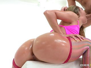 Kristina shakes her bubble butt during the time that Manuel Ferrera pours some oil all over her sexy body and then that guy bonks her dark hole and her tasty bawdy cleft really hard. This Babe is hawt, lewd and hungry for penis.