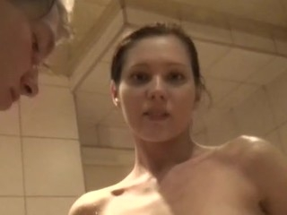 Oh those nasty and insatiable college chicks! Watch one of 'em engulf a huge strong schlong at sauna party