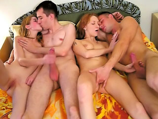 Two attractive sexy hottie getting gaped by two mighty dudes