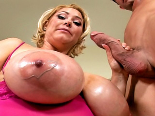 Marvelous babe with large scoops engulfing and getting fucked hard