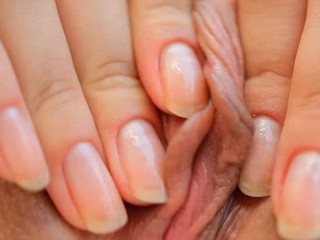 Gal takes vibrator and pushes it in her luscious loving hole