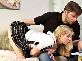Nice-looking teenie sweetie blonde acquires getting drilled