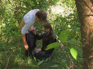 Horny golden-haired playgirl getting fucked outdoor and loving it