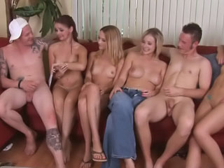 Four hot sexy beauties having groupsex with one lucky man