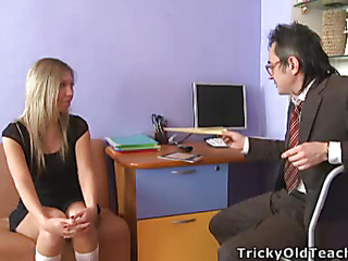 Blond chick came to the professor's office and in a during the time that his obese wang was sliding betwixt her soft vagina lips.