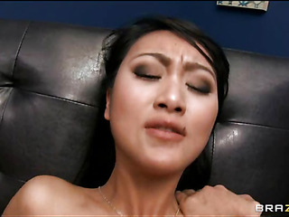 Raunchy cutie gets jizz on her face after being fucked in slit