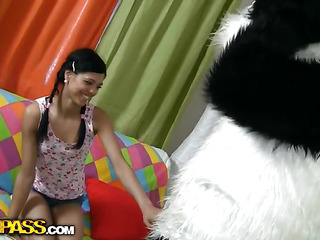This cute teenage babe just wanted to clean her room, but suddenly a biggest panda appeared. The beauty got scared at first, but the panda bear was so amiable and fluffy and cute, this babe even forgot all about cleaning and decided to use him as a large sex toy. And why not? The panda wanted the same, 'cause his enormous sex toy strap on was ready for a real sex play. As in a short time as the angel saw that gigantic dong schlong, this babe went completely wild and insatiable. Want To know if this babe managed to take the entire shaft in?...