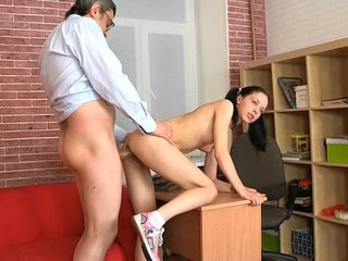 Lusty playgirl is giving older teacher a lusty oral-sex session