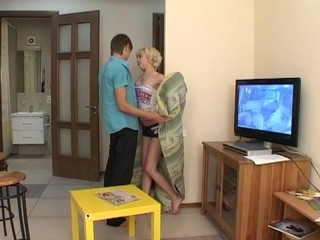 Horny blond ends fucking with agile partner on the floor