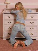 Tall busty blonde Lana looks breathtaking in blue garments