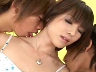 Sexy Japanese legal age teenager with some precious petite scones gets her taut Oriental fur pie by two horny guys!