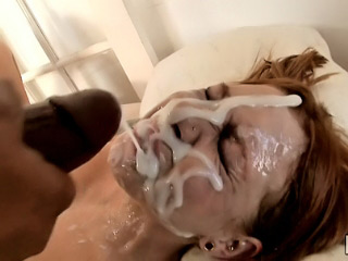 Sexy honey got injected with heavy dose of cum on her face