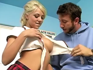 Busty blonde beautifull babe getting fucked hard at school