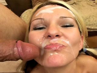 Lovely blonde enjoys sperm shower on her face after sucking