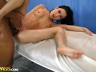 This is not just one more nude massage, but an extremely sexy scene with gorgeous darksome brown gal. That Playgirl looks spectacular, has a very fit little body and lovely face. It's such a pleasure to see her getting rubbed and caressed on the couch. But the superlatively good thing about this cute sweetheart is that that babe likes anal fuck! That Playgirl lets large darksome pecker inside her darksome aperture and obviously can't live out of it. This Playgirl moans and comes several times during one session! That Playgirl will be back out of doubt for more of sex massage!