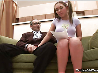 Horny old teacher gives juvenile chick a vigorous drilling