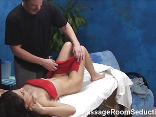 Stunning dark brown cutie with new forms of body takes lengthy shlong of masseur in her magic mouth and starts giving great fellatio feeling how his dick becomes unyielding. That Babe is getting fucked in doggie then.