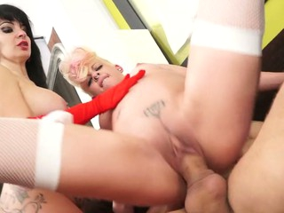 punky golden-haired and goth dark brown put a big ramrod in their holes