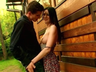 Outdoors environment for legal age teenager cookie-licking and pecker-engulfing