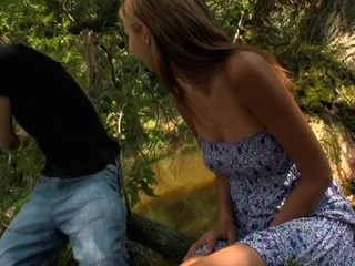 Wild fuck outdoors on the log with a nasty and smutty blond