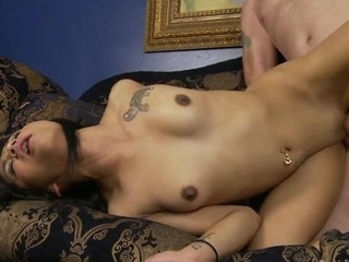 Petite Lalin Girl is having sex with her stepdaddy on the couch