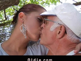What a eager old stud would not want to be fucked by engulf a pretty youthful cutie. Angel Rivas knows how to satisfy the dicks and can't live without being booty nailed by 'em.  Two old knob for a youthful cute booty here