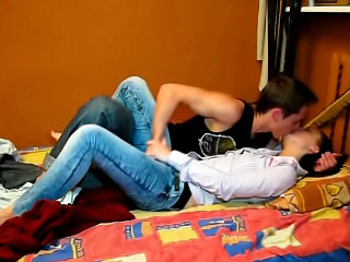 Brunette honey sucking a dick and getting fucked by one dick