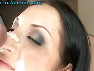 Beautiful Gerri is twenty one years old and back one time more. This time this babe wants a large cum facial. I acquiesced that a facial is a fantastic idea and I do my most good to slather on a massive load. Next, I get out a spoon and scrape all the cum off her face. I slid the spoon into her mouth and this babe swallowed it down.