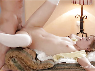 Skinny pretty angel lies on her side to get team-fucked well