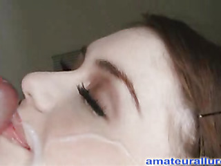 Miley is eighteen years old, very cute and this babe has returned for her first cum facial ever! This is the second time Miley has visted AmateurAllure.com, and I am going get my shot at her this time. This Honey has an amazing, taut body and gorgeous face, and that babe really likes engulfing dick. After that babe blows me for a during the time that, I bent her over and fucked her tight little immodest cleft. That Honey is a fun little spinner. After a lot of fucking I shot a huge load all over her face.