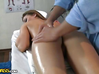 This movie scene shows a full body massage, which means that every part of sexy girls body gets oiled and rubbed with skillful hands. Including boobs massage, wazoo massage... No wonder the chick gets horny glamorous in a short time and starts reaching for rod. Sexy blond starts engulfing doctors hard 10-Pounder and lets him finger her shaved constricted muff. In A Short Time they start to fuck like mad, not giving a damn about people in the hall who might hear the moans