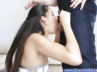 Jackie is an aggressive hard body honey that can't live without to engulf jock and swallow cum. That Babe wastes no time, and gets on her knees and starts engulfing. Thomas bonks her tight little bawdy cleft hard from behind as that babe suppli