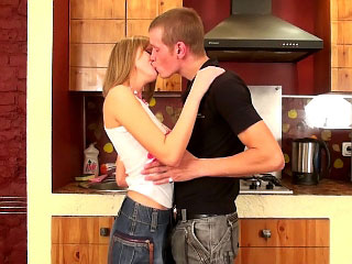Awesome horny blonde teen getting face fucked and loving it
