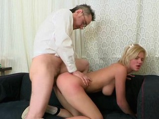 Playgirl is letting her older teacher smack her chaste pussy