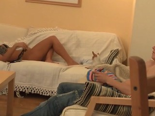 Legal Age Teenager gal kisses lips of her boyfriend and sucks his dick.