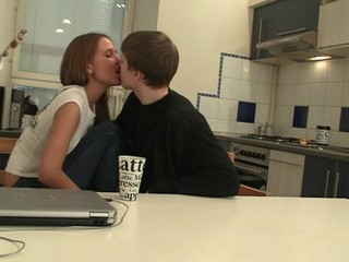 Legal Age Teenager couple uses table in the kitchen in order to have a fun sexy sex
