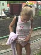 Girl flashing her moist muff