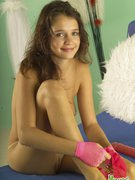 Charming young unexperienced model plays
