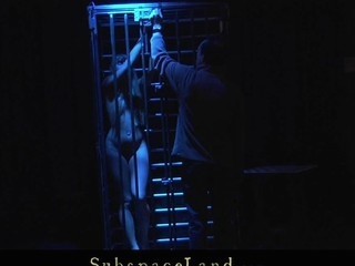 Restrained and fastened in the metal cage cute youthful golden-haired Willa is Master's resigned thrall. Whenever this chab feels like playing perverted that guy takes her out and enjoys the view of having her spanked and screwed