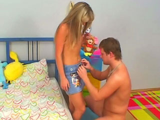 Excellent blonde teenie suckes and gets screwed by old man