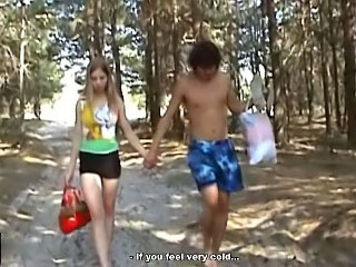 Gorgeous teenie getting screwed hard by fortunate dude outdoors