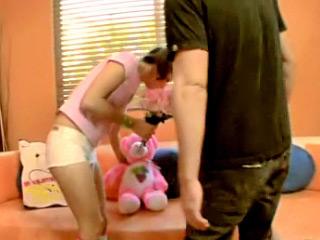 Innocent virgin hot teen sucking her first cock on camera