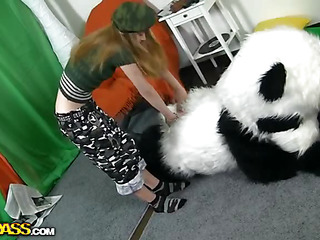 `What's the almost all fine way to talk the panda bear to join the army? Maybe a sexy breasty teenage hottie in a military outfit can do that? This Honey was very stern and tried to educate him to march and to work out. But the panda bear's got smth else on his mind! This Guy's gonna educate the angel to have pleasure with sex! And as marvelous pretty soon as the sexy hottie saw this shiny large dong of his, this babe forgot all about the army and plunged into pleasure fucking with the horny bear. Watch, the fine old slogan Make love not war` still works for chicks :)``