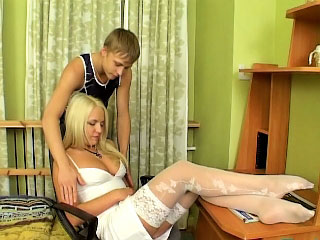 Enjoyable amateur blonde with perky tits showing shaved pussy