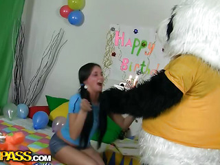 This Day this beautiful angel turned eighteen. Her almost all excellent ally panda bear came to congratulate the birthday cutie, and this chab brought a bag full of presents and a cake. How worthwhile of him! The breasty teenage loved the presents, especially the pink super sex tool. This Babe was dying to try it, and why not do it with her ally panda? The fluffy bear appeared to be to know a lot about sex with toys, this chab drilled the birthday beauty's bewitching cunt with a massive sex-toy, changing positions and making her explode in orgasm. Ah, it's the ...