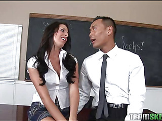 A schoolgirl receives a older schlong too large for her taut muff