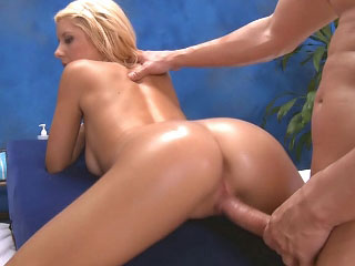 Blond gets her ass licked by his tongue and fucked by his cock