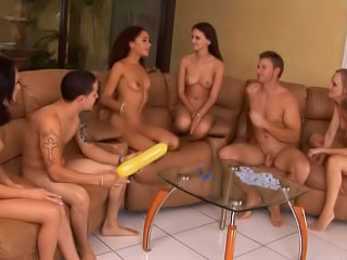 Many girls blowing large cocks and fucking hard on the party