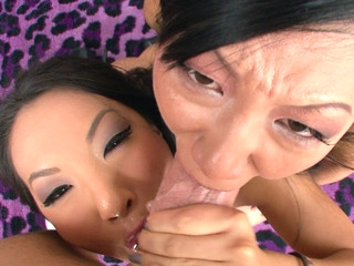 Asa Akira and Tia Ling one as well as the other swallow performer's big ramrod.